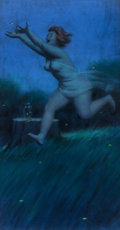 Pin-up and Glamour Art, DUANE BRYERS (American, 1911-2012). Hilda Chasing Fireflies atNightfall, Brown & Bigelow calendar illustration. Pastel...