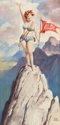 DUANE BRYERS (American, 1911-2012) Hilda on Top of the World, Brown & Bigelow calendar illustration