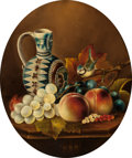 Fine Art - Painting, European:Antique  (Pre 1900), School of EDWARD LADELL (British, 1821-1886). Still Life with Pitcher, Fruit and Songbird. Oil on panel. 17-1/2 x 1-1/2 ...