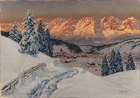 ALOIS ARNEGGER (Austrian, 1879-1963) Alpine Glow, Kitzbuehel Village Oil on canvas 27-1/2 x 39-3/