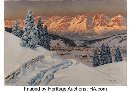 ALOIS ARNEGGER (Austrian, 1879-1963)Alpine Glow, Kitzbuehel VillageOil on canvas27-1/2 x 39-3/8 inches (69.9 x 100...
