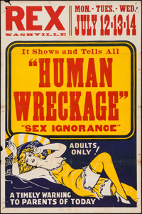 "Sex Madness (Cinema Services, Ltd., 1938). One Sheet (27.75"" X 42""). Sexploitation. Alternate Title: Human Wre..."