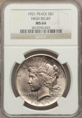 Peace Dollars: , 1921 $1 MS64 NGC. NGC Census: (3455/1277). PCGS Population(3884/1428). Mintage: 1,006,473. Numismedia Wsl. Price for probl...