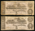Confederate Notes:1862 Issues, T53 $5 1862. PF-2 Cr. 382. T53 $5 1862 PF-8 Cr. 387.. ... (Total: 2notes)