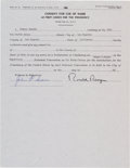 Autographs:U.S. Presidents, Ronald Reagan Consent for Use of Name Signed...