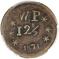 Coins of Hawaii, 1871 12.5C Wailuku Plantation 12 1/2 Cents, Broad Starfish, VF30PCGS. Medcalf 2TE-3....