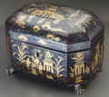 Asian:Chinese, A CHINESE LACQUERED TEA CADDY. 5-3/4 x 8 x 5-3/4 inches (14.6 x20.3 x 14.6 cm). ...