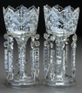 Decorative Arts, Continental:Lamps & Lighting, A PAIR OF VICTORIAN GLASS AND ENAMEL LUSTRES, circa 1890. 12-1/4inches high (31.1 cm). ... (Total: 2 Items)