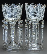 A PAIR OF VICTORIAN GLASS AND ENAMEL LUSTRES, circa 1890 12-1/4 inches high (31.1 cm)