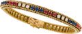 Estate Jewelry:Bracelets, MULTI-STONE, GOLD BRACELET, OSCAR HEYMAN BROS.. ...