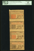 Colonial Notes:New Jersey, New Jersey March 25, 1776 3s-12s-18d-12s Vertical Strip of Four PCGS Apparent Choice About New 55.. ...