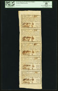 Colonial Notes:Georgia, Georgia September 10, 1777 $4/5 Uncut Strip of Five PCGS ApparentExtremely Fine 40.. ...