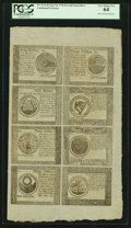 Colonial Notes:Continental Congress Issues, Continental Currency September 26, 1778 $5-$7-$8-$20-$30-$40-$50-$60 Blue Counterfeit Detector Uncut Sheet PCGS Very Choice Ne...