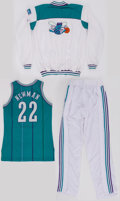 Basketball Collectibles:Uniforms, 1991-93 Charlotte Hornets Game Worn Jersey and Warm Up Uniform....