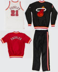 Basketball Collectibles:Uniforms, 1990's George Ackles Game Worn Miami Heat Jersey and Warm Ups Lot(Four Pieces)....