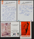 Baseball Collectibles:Others, Ted Williams Signed and Handwritten Memorabilia Lot of 3....