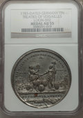 Betts Medals, 1783 Treaties of Versailles AU55 NGC. Betts-610, Loon-592. Germany,tin....