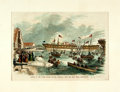 Books:Prints & Leaves, [Steamships]. Color Reprint of Engraving featuring Launch of the Merrimac. Excised from unknown volume. Matted to an overall...