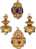 Estate Jewelry:Lots, MULTI-STONE, GOLD FOBS. ... (Total: 4 Items)