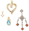 Estate Jewelry:Pendants and Lockets, Lot of Diamond, Multi-Stone, Silver, Gold Pendants. ... (Total: 4Items)