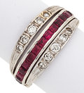 Estate Jewelry:Rings, Ruby, Sapphire, Diamond, White Gold Ring. ...