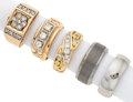 Estate Jewelry:Rings, Lot of Diamond, Gold, Tungsten Gentleman's Rings . ... (Total: 5 Items)