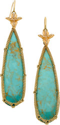 Estate Jewelry:Earrings, Anthony Nak Turquoise, Diamond, Gold Earrings. ...