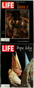 Books:Periodicals, [Periodical] [Religion]. Two Issues of Life Magazine. 1963,1964. Folios. Original printed wrappers, with light ... (Total: 2Items)