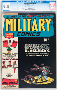 Military Comics #8 (Quality, 1942) CGC NM 9.4 Off-white to white pages