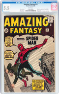 Silver Age (1956-1969):Superhero, Amazing Fantasy #15 (Marvel, 1962) CGC FN- 5.5 White pages....
