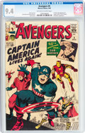 Silver Age (1956-1969):Superhero, The Avengers #4 (Marvel, 1964) CGC NM 9.4 Off-white to whitepages....
