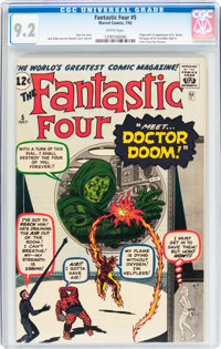 Fantastic Four #5 (Marvel, 1962) CGC NM- 9.2 White pages