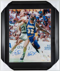 Basketball Collectibles:Photos, Larry Bird and Magic Johnson Multi Signed Oversized Photograph....