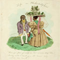 "Books:Americana & American History, Edward Williams Clay, illustrator. Racially Offensive Hand-ColoredIllustration, Circa 1830. Approximately 5.5"" x 5.25"", tip..."