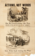 "Books:Americana & American History, [Broadside] Post Civil War Political Broadside ""Actions, NotWords"". 8"" x 12.5"". Likely from a Pennsylvania election after t..."