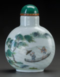Asian:Chinese, A CHINESE PORCELAIN SNUFF BOTTLE. Marks: (chop marks). 2-3/4 incheshigh (7.0 cm). ...