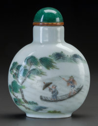 A CHINESE PORCELAIN SNUFF BOTTLE Marks: (chop marks) 2-3/4 inches high (7.0 cm)