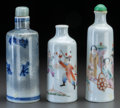 Asian:Chinese, THREE CHINESE PORCELAIN SNUFF BOTTLES. Marks to mottled snuffbottle: (dragon), (chop marks). 3-5/8 inches high (9.2 cm) (ta...(Total: 3 Items)
