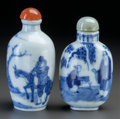 Asian:Chinese, TWO CHINESE PORCELAIN SNUFF BOTTLES. Marks to both: (chop marks).2-7/8 inches high (7.2 cm) (taller). ... (Total: 2 Items)