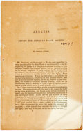 Books:Americana & American History, [Abolition]. Charles Sumner. Address Before the American PeaceSociety. [N.p.]. [n.d. ca. 1849]. Publisher's origina...