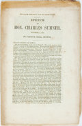 Books:Americana & American History, [Abolition]. Charles Sumner. The Slave Oligarchy and itsUsurpations. [N.p.]. 1855. Publisher's original printed sel...