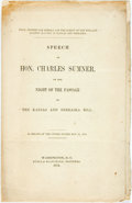 Books:Americana & American History, [Abolition]. Charles Sumner. Speech of Hon. Charles Sumner onthe Night of the Passage of the Kansas and Nebraska Bill. ...