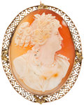 Estate Jewelry:Pendants and Lockets, Shell Cameo, Gold Brooch. ...