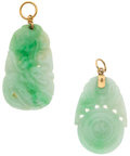 Estate Jewelry:Pendants and Lockets, Carved Jade Pendants. ... (Total: 2 Items)