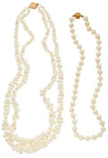 Estate Jewelry:Necklaces, Coral, Gold Necklaces. ... (Total: 2 Items)