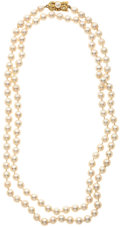 Estate Jewelry:Pearls, Cultured Pearl, Gold Necklace, Mikimoto. ...
