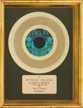 "Music Memorabilia:Awards, Ritchie Valens ""Donna"" Gold Record Award (Del-Fi4110, 1958). ..."