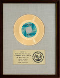 "Music Memorabilia:Awards, Rolling Stones ""Ruby Tuesday"" RIAA Gold Record Award(London 45-904, 1967). ..."