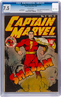 Captain Marvel Adventures #4 (Fawcett Publications, 1941) CGC VF- 7.5 Off-white pages