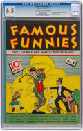 Platinum Age (1897-1937):Miscellaneous, Famous Funnies #1 (Eastern Color, 1934) CGC FN+ 6.5 Light tan tooff-white pages....